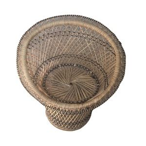 Vintage Mini Peacock Chair Woven Wicker Plant Stand Boho Tropical Natural